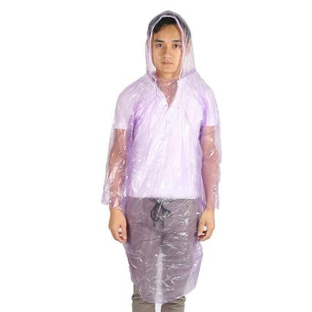 Traveling Plastic Water Resistant Disposable Poncho Raincoat Purple 5pc - image 2 de 3