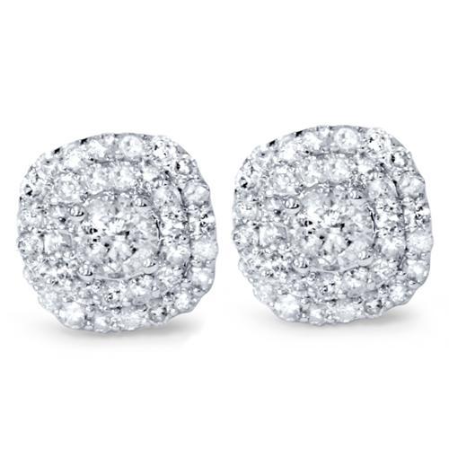 7/8ct Pave Double Halo Diamond Studs 14K White Gold
