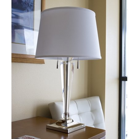 Laura Ashley Decor (Darcy Table Lamp Nickel Base by Laura Ashley with Premium White Floor Shade )