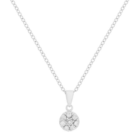 Floating Round Diamond Pendant (Ladies Diamond Accent Round Pendant in Sterling Silver)