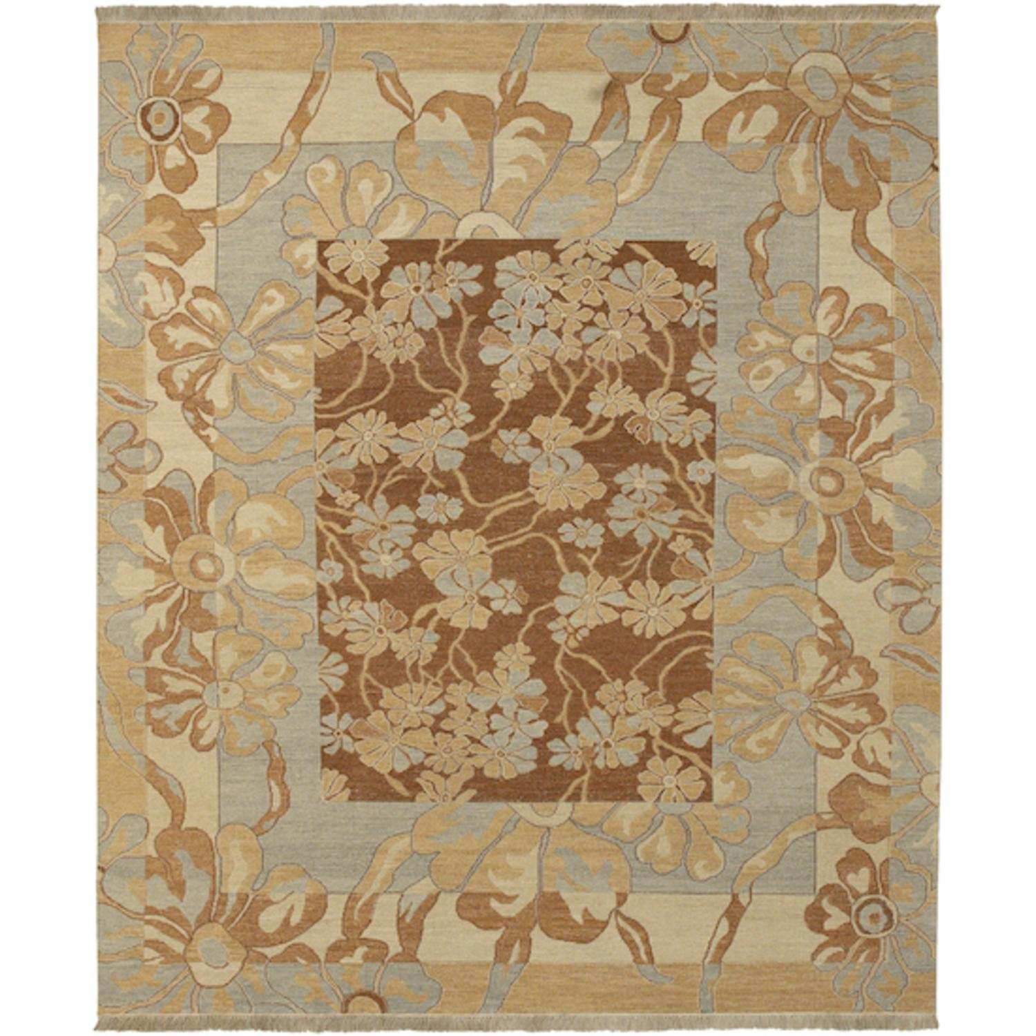 10' x 14' Floral Melody Cognac and Gold Fringed Wool Area Throw Rug