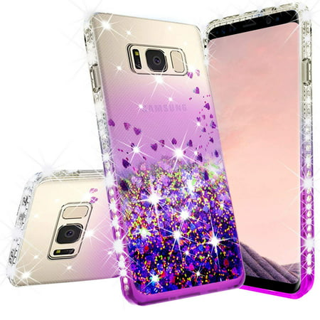 Samsung Galaxy S8 Case w/[Temper Glass Screen Protector] Liquid Glitter Phone Case Waterfall Floating Quicksand Bling Sparkle Cute Protective Girls Women Cover for Galaxy S8 - (Girl On Cell Phone Falls In Fountain)
