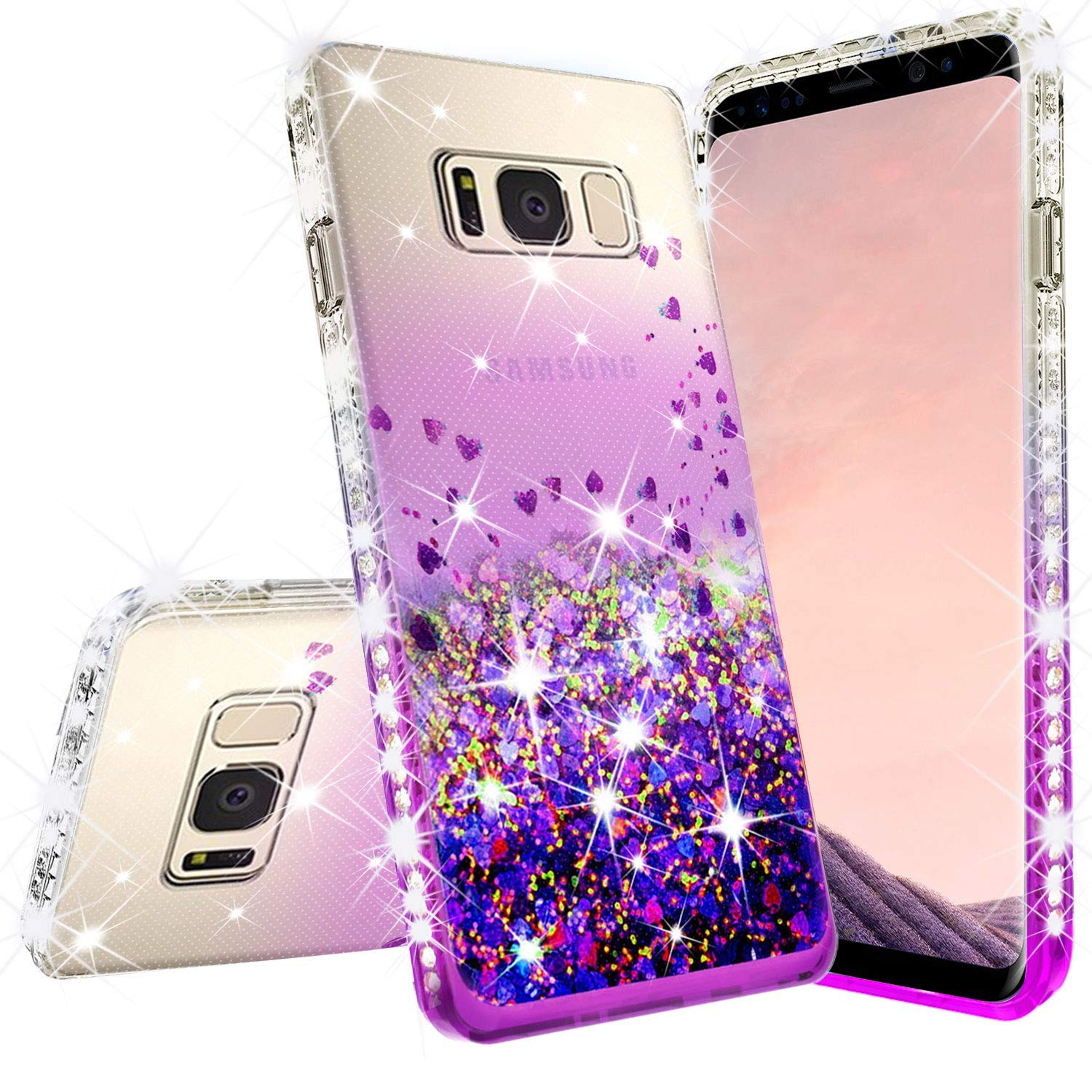 Liquid Glitter Phone Case for Samsung Galaxy S9 Plus Case w/[Tempered Glass Screen Protector] Waterfall Floating Quicksand Bling Sparkle Cute Protective Girls Women Cover for S9 Plus - Purple/Clear