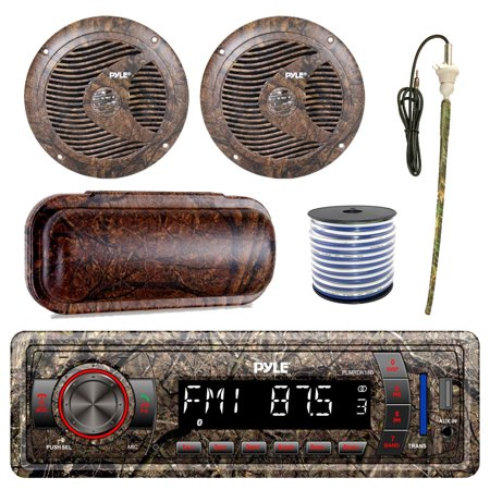 Pyle Marine Single-DIN Bluetooth MP3 USB AUX Camo AM/FM Radio, Pyle 6.5'' Waterproof Camo Speakers (Pair), Stereo Shield Cover, Enrock Camouflage Boat Antenna, 18-G 50 Ft Wire Digital Antenna Marine Radio