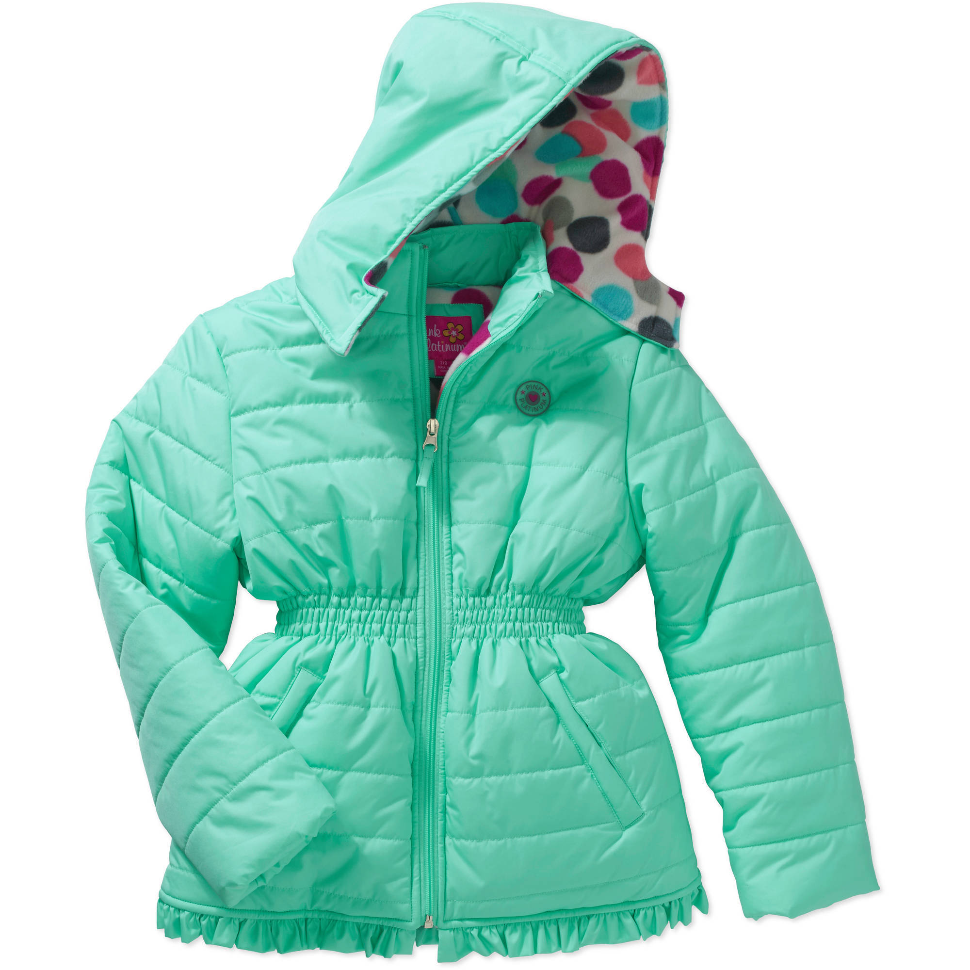 Girls' Banded Waist Puffer Jacket with Pockets and Hood