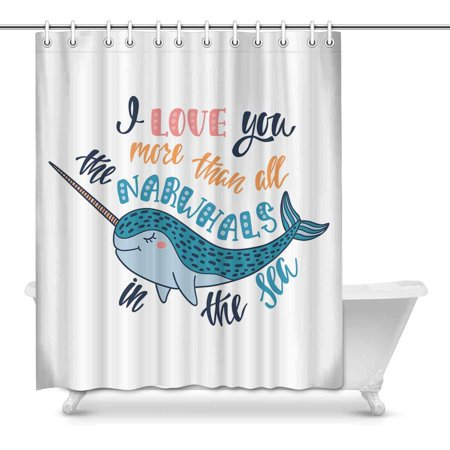 YUSDECOR I Love You More Than All The Narwhals tn The Sea Valentine's Day Decor Waterproof Polyester Bathroom Shower Curtain Bath Decorations 60x72 inch - image 1 of 1