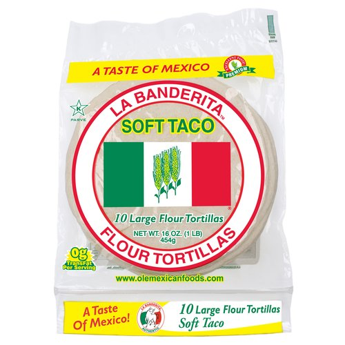 La Banderita Large Soft Taco Flour Tortillas, 10 count, 16 oz