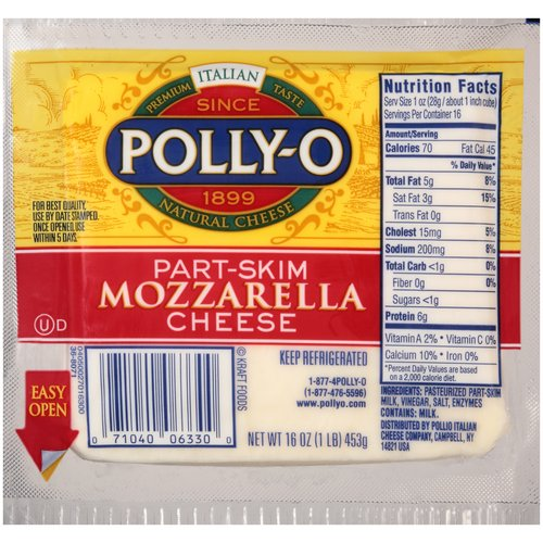 Polly-O Part-Skim Mozzarella Cheese, 16 oz