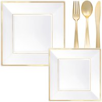White & Gold Square Premium Tableware Kit and Party Supplies for 32 Guests