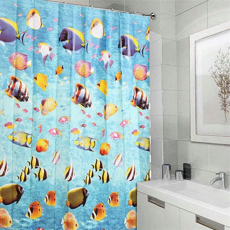 71x71 inches Mildew Proof EVA Waterproof Kids Bathroom Fabric Bath Shower Curtain with Hooks Deep Ocean