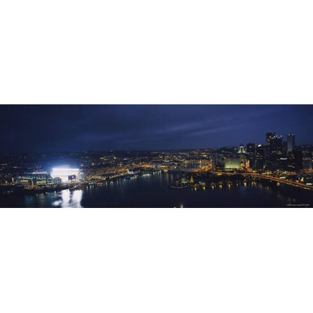 - Buildings Lit Up at Night, Heinz Field, Pittsburgh, Allegheny County, Pennsylvania, USA Print Wall Art By Panoramic Images