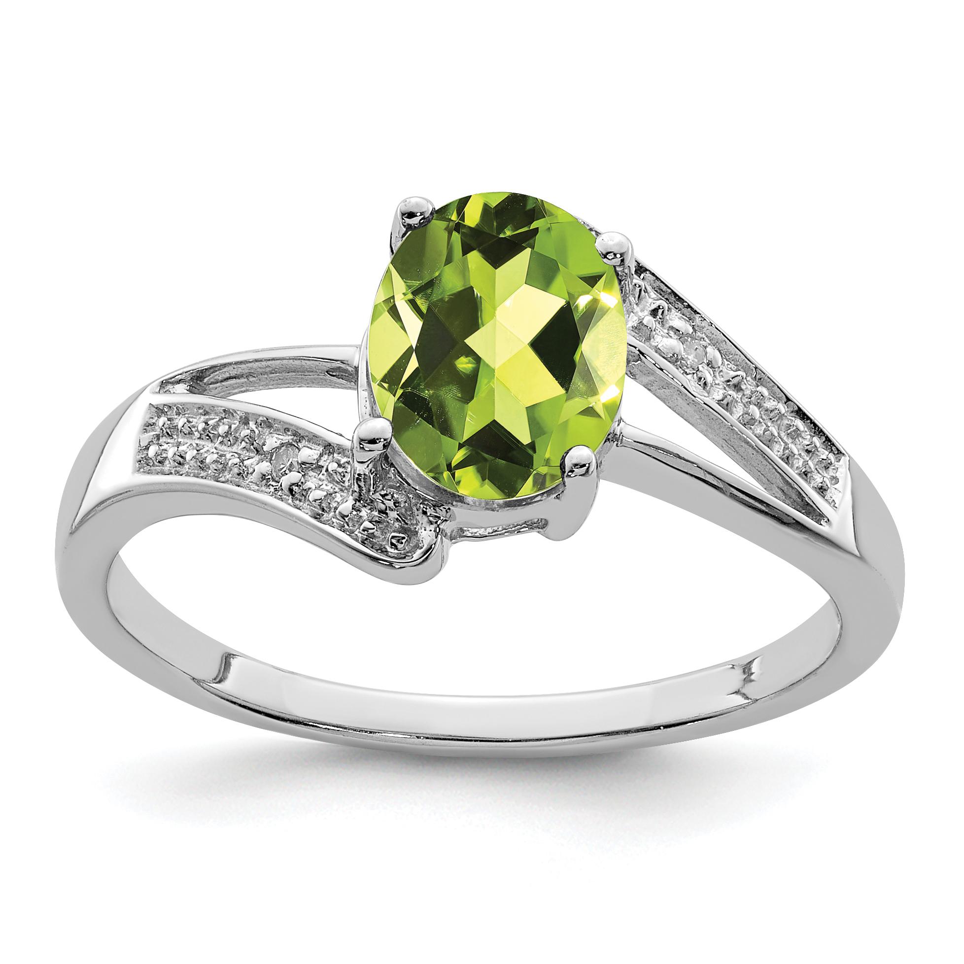 925 Sterling Silver Rhodium Peridot and Diamond Ring - image 2 de 2