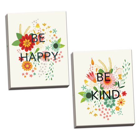 Gango Home Decor Cottage Groovy Florals I Be Kind on Cream & Groovy Florals II Be Happy on Cream by Lamai McCartan (Ready to Hang); Two 11x14in Hand-Stretched Canvases