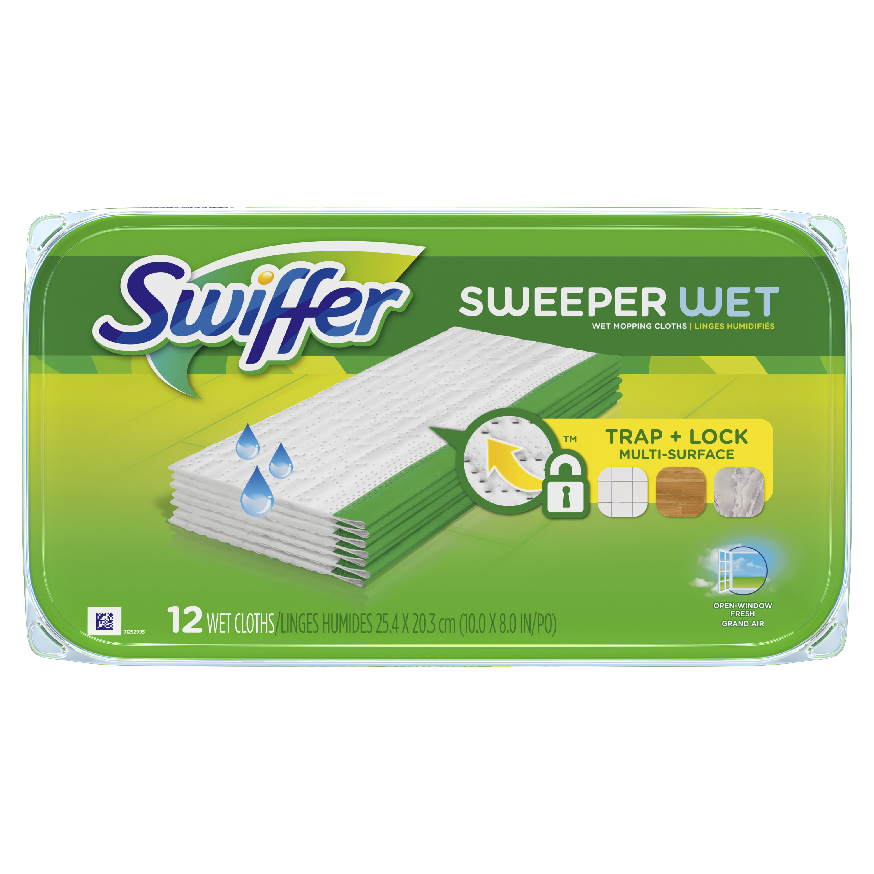 Swiffer Sweeper Wet Mopping Pad Multi Surface Refills for floor mop, Open Window Fresh scent, 12 Count