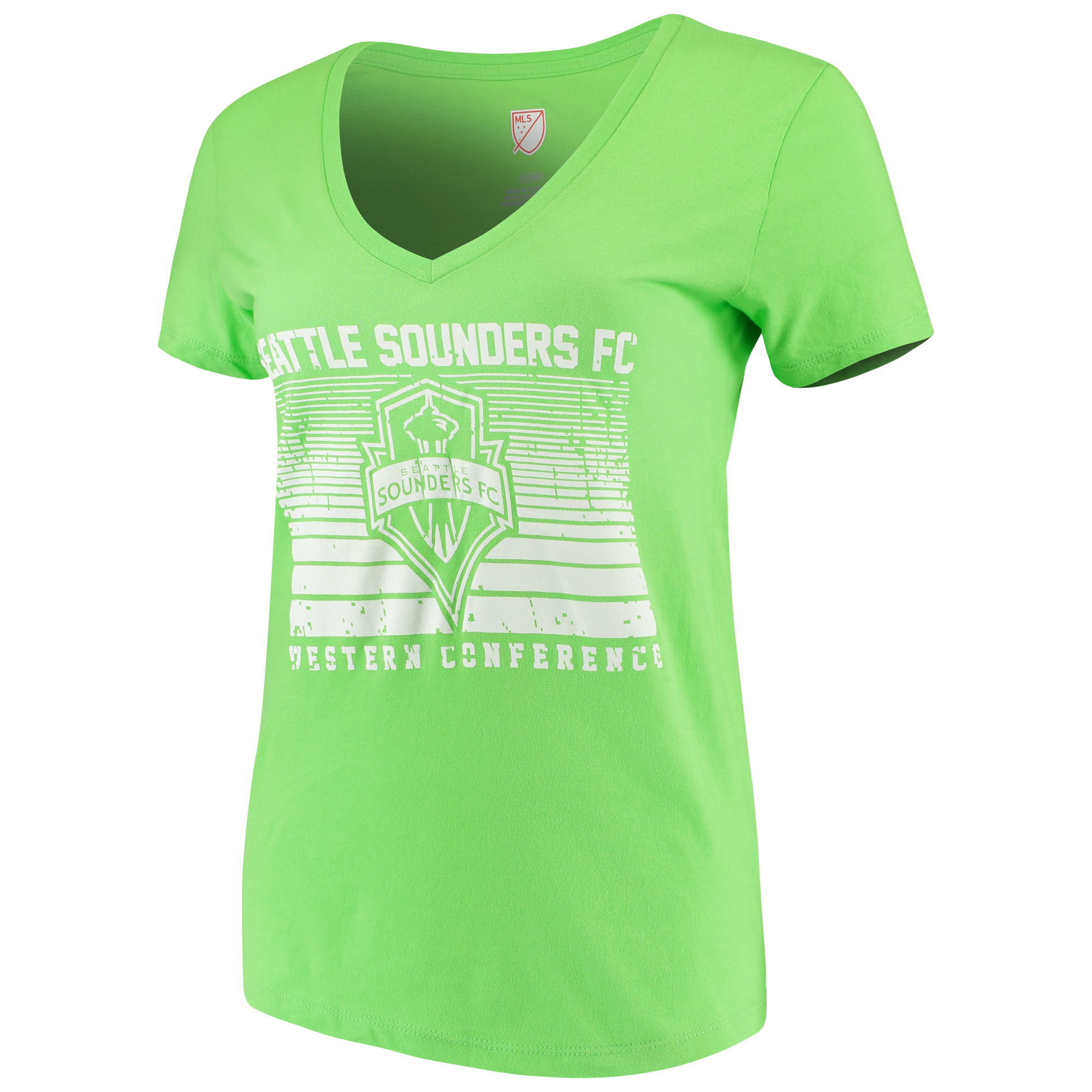 Women's Majestic Rave Green Seattle Sounders FC Time Crunch V-Neck T-Shirt