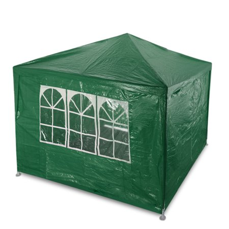 Outdoor Party Wedding Tent 10'x10' (Green) Canopy Pavilion Catering Events Easy Set with 3 Removable Sidewalls for Camping BBQ Commercial Flea Market