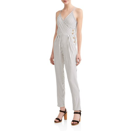 6d3408af1a9 Derek Heart - Juniors  Brushed Yummy Jumpsuit with Side Tortoise Buttons -  Walmart.com