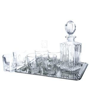 8-Piece Alexandria Whiskey Drinkware Barware Drink Set with 6 Double Old Fashioned Glasses, Silver-Plated Rectangular Mirror Tray and Decanter