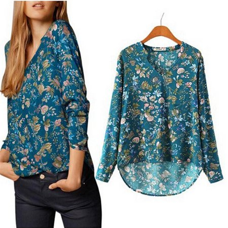 Spring Women 's V - Neck Retro Printing Cotton Long - Sleeved - Neck Spring