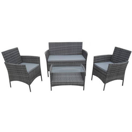 Click here to buy ALEKO Lipari Set Rattan Wicker Furniture 4-Piece Indoor Outdoor Coffee Table Set, Black by ALEKO.