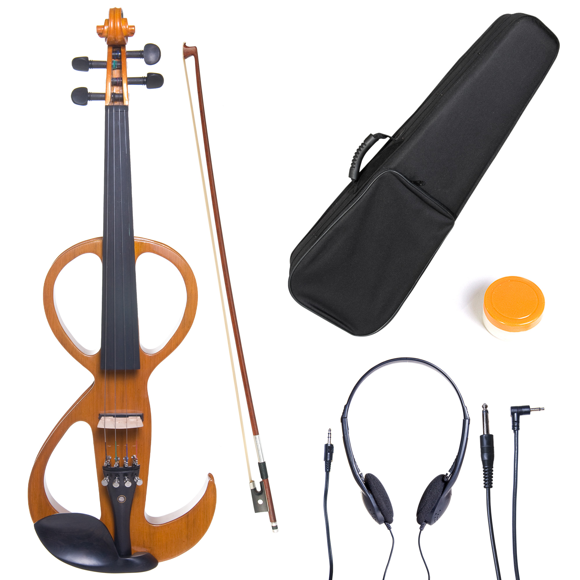 Cecilio 4/4 CEVN-3Y Solidwood Metallic Yellow Maple Electric/Silent Violin with Ebony Fittings-Full Size