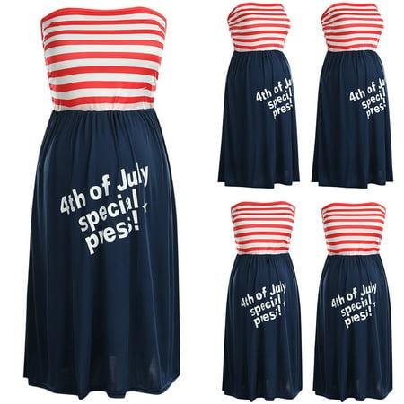 Women Pregnancy Maternity Chest Wrap Dress Stripe 4th Of July Dress (4th Of July Dress)