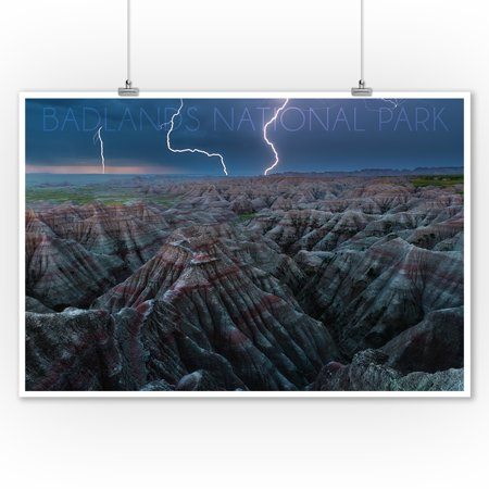 Badlands National Park, South Dakota - Lightning Storm - Lantern Press Photography (9x12 Art Print, Wall Decor Travel Poster) Pink Tornados Art