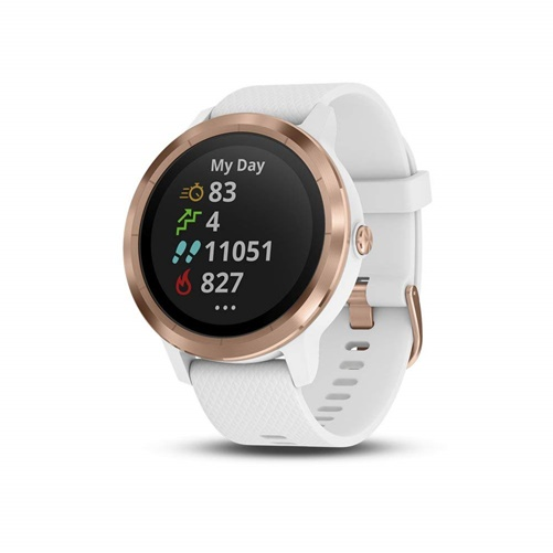Garmin vvoactive 3 Smartwatch w/ Contactless Payments, White/Rose Gold