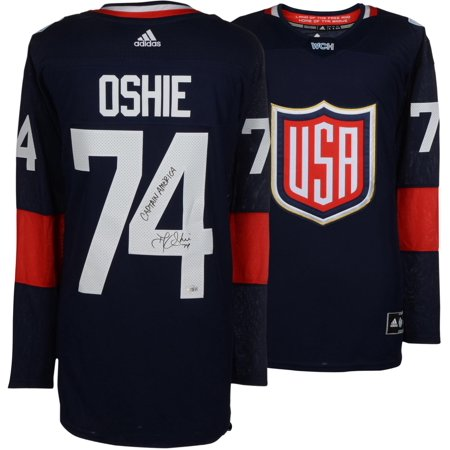 6324ba65d18 T.J. Oshie Washington Capitals Autographed Team USA World Cup of Hockey  Adidas Authentic Jersey with Captain