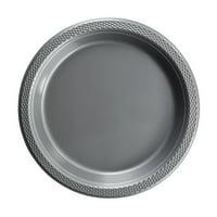 "Exquisite 10"" Disposable Plastic Plates Bulk - 100 Count Party Pack - Premium Plastic Disposable Lunch & Dinner Plates, Clear"