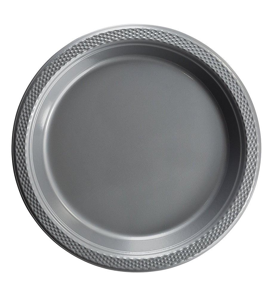 "Exquisite 10"" Disposable Plastic Plates - 50 Count Party Pack Plates - Premium Plastic Disposable Lunch & Dinner Plates, Silver"