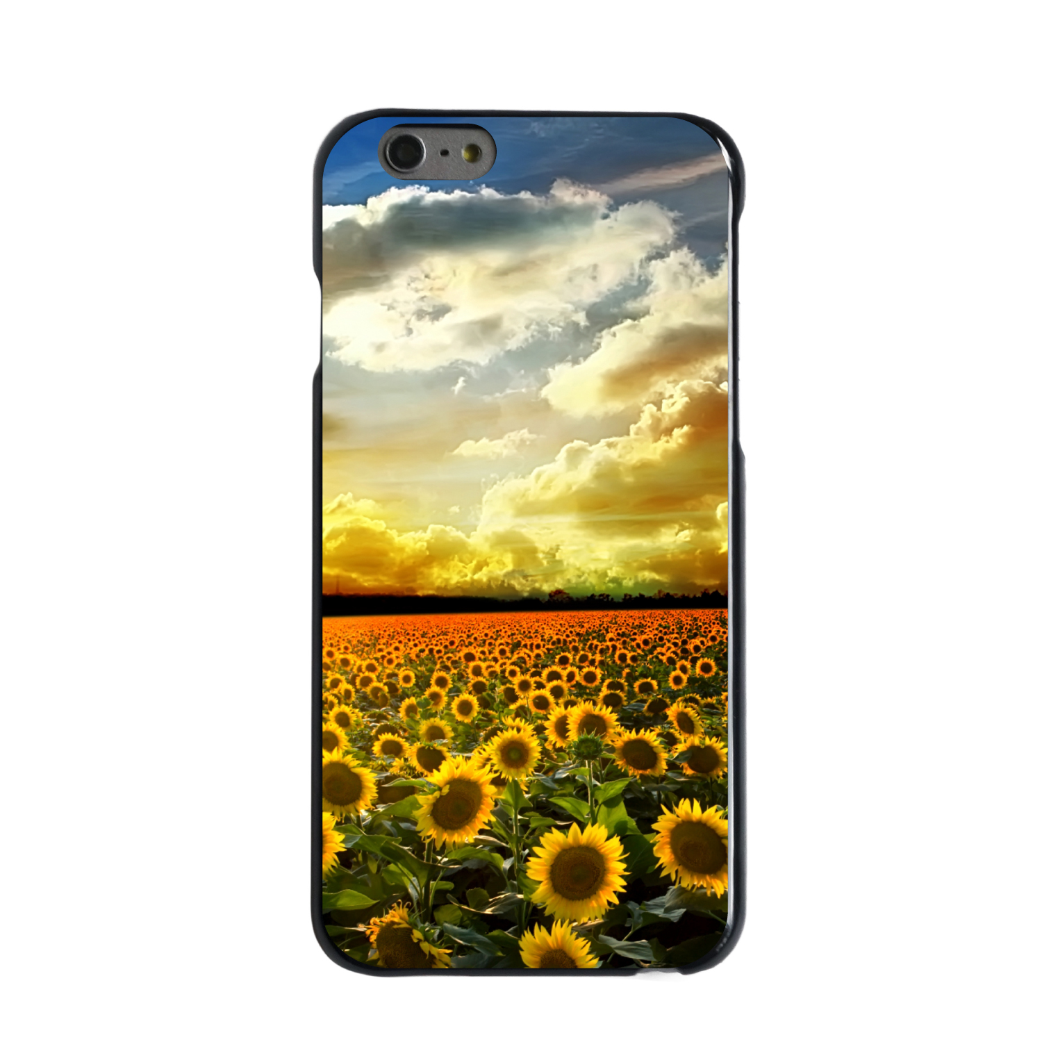 "CUSTOM Black Hard Plastic Snap-On Case for Apple iPhone 6 PLUS / 6S PLUS (5.5"" Screen) - Green Blue Yellow Sunflowers"