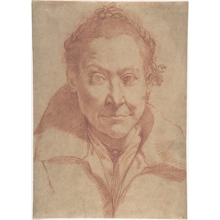 """Bust-Length Portrait of a Woman (recto) Bust-Length Study of a Girl (verso) Poster Print by Agostino Carracci (Italian Bologna 1557  """"1602 Parma) (18 x 24)"""