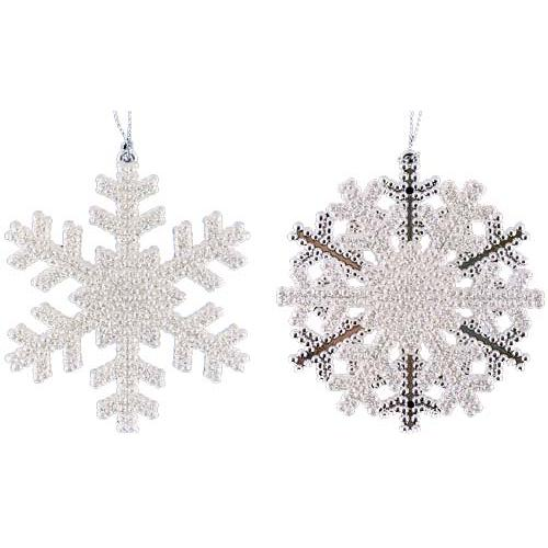 Set of 4 Silver Glitter Snowflake Christmas Ornaments