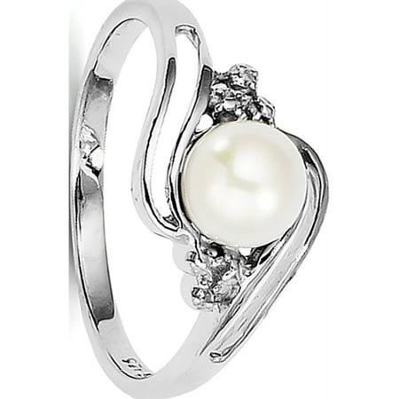 Sterling Silver Rhodium 6mm FW Cultured Button Pearl & Diamond Ring (Diamond Fw Pearl Ring)