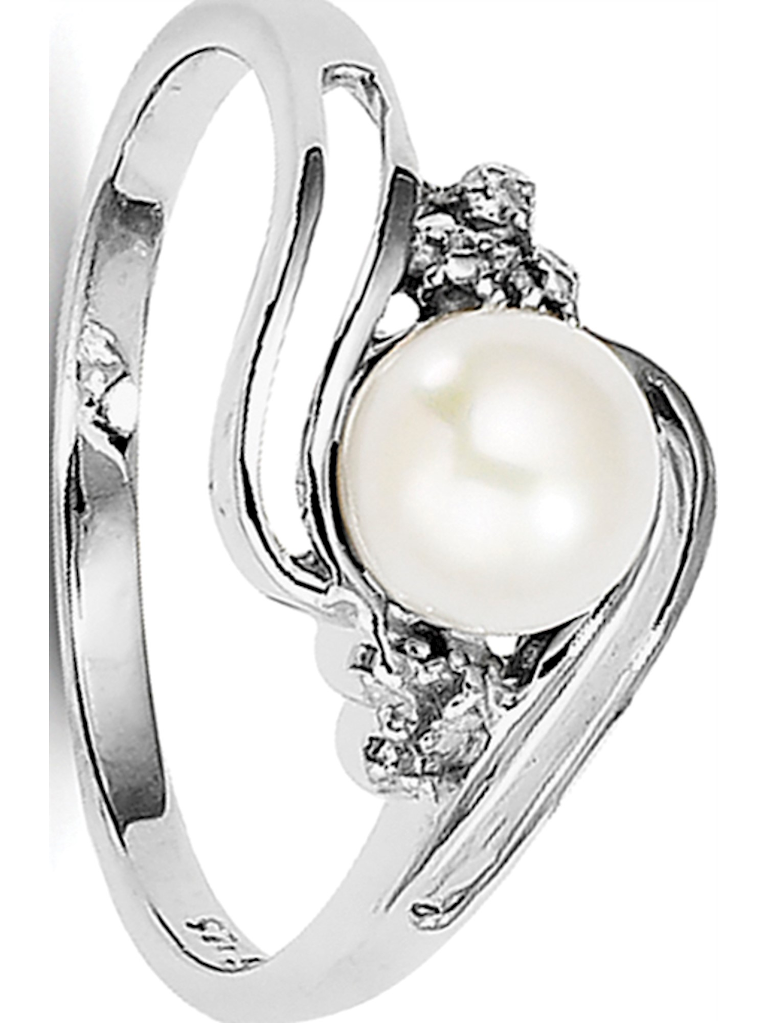 Sterling Silver Rhodium 6mm FW Cultured Button Pearl & Diamond Ring