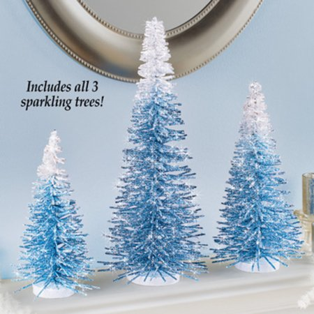 Winter Blue Ombre Bristle Pine Trees Tabletop Mantle Decoration, 3pc (Winter Decorations For Classroom)