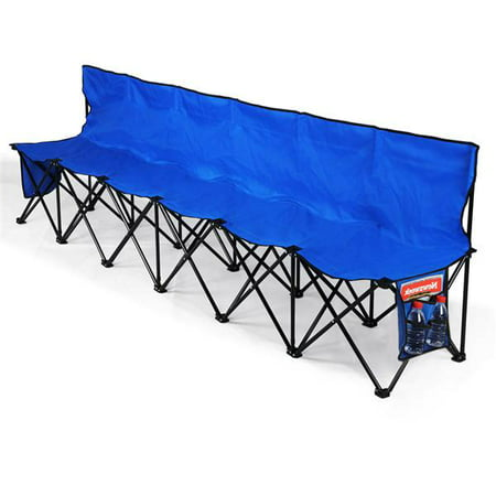 Heavy Duty Portable 6 Seater Bench Sport Sideline Bench with Carry Bag,Weight Capacity:220lbs Each Seat