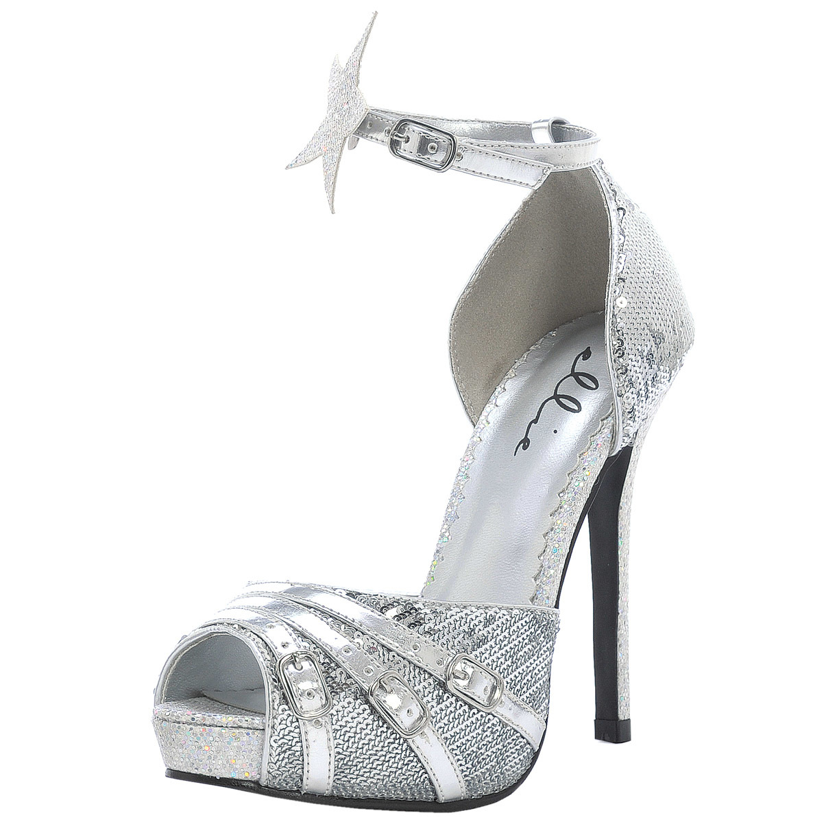 5 inch high heel shoes sandals peep toe silver