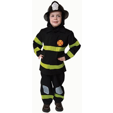 Boys Deluxe Black Fire Fighter Halloween Costume](Firefighter Costume Boy)