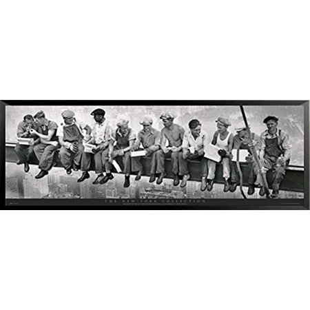 Buyartforless FRAMED Men atop a Skyscraper Steel Beam Lunchtime Atop NYC by John C Ebbets 60x21 Photographic Art Print (Frame Nyc Menu)