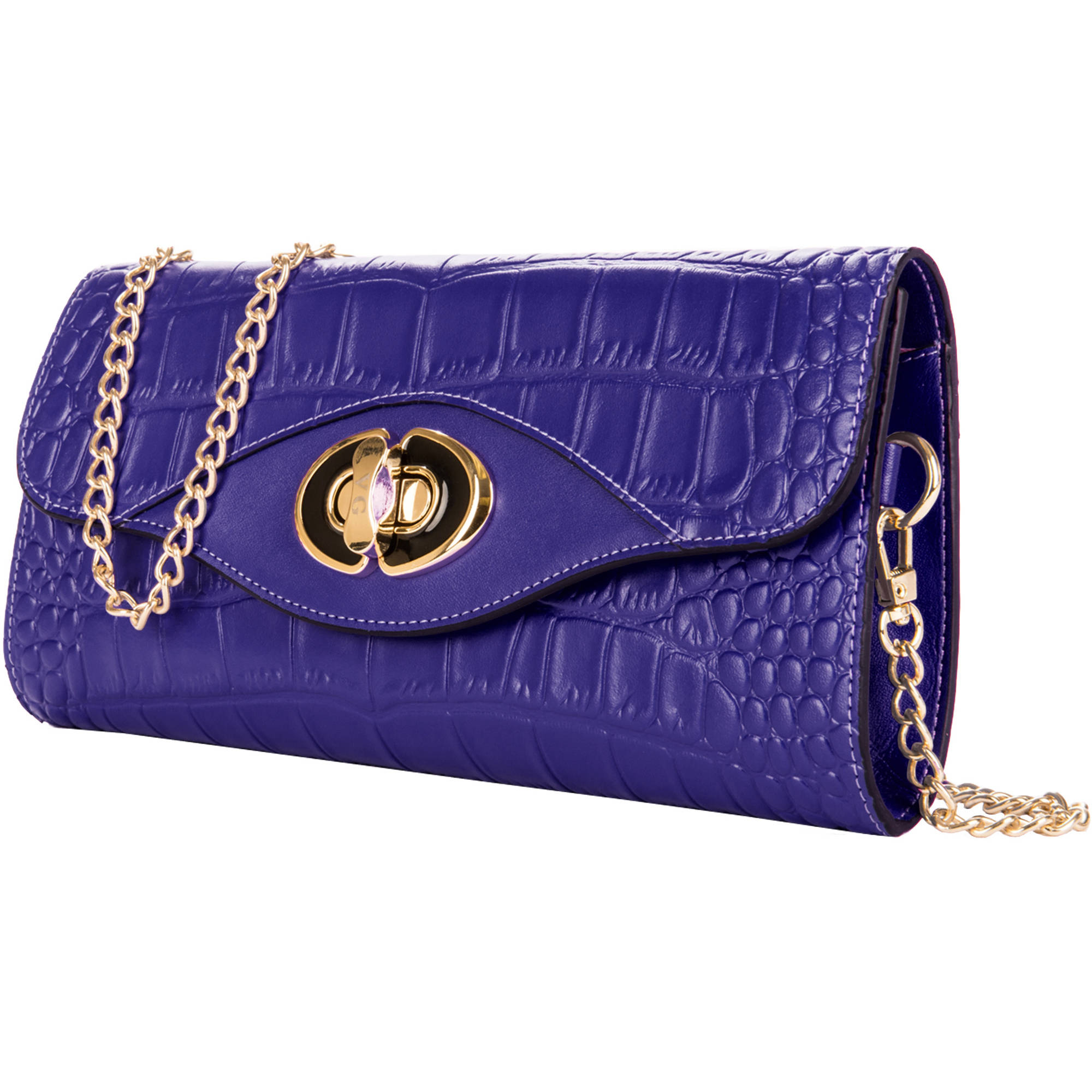Genuine Leather Clutch Evening Bag with Chain Shoulder Strap