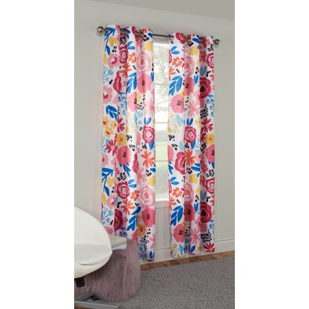 Mainstays Joy Multi Floral Grommet Window Curtain Panel