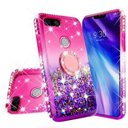 Liquid Glitter Phone Case Kickstand for Google Pixel 3 XL Case,Ring Stand Liquid Floating Quicksand Bling Sparkle Protective Girls Women for Google Pixel 3 XL - Hot Pink Gradient