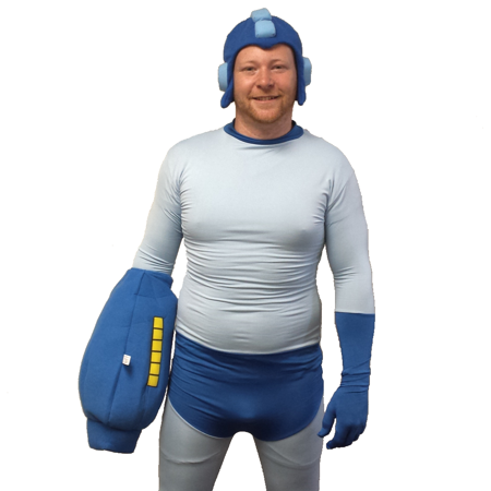 Mega Man Adult Costume Spandex Body Suit With Buster Glove & Helmet Megaman](Bustier Costumes)