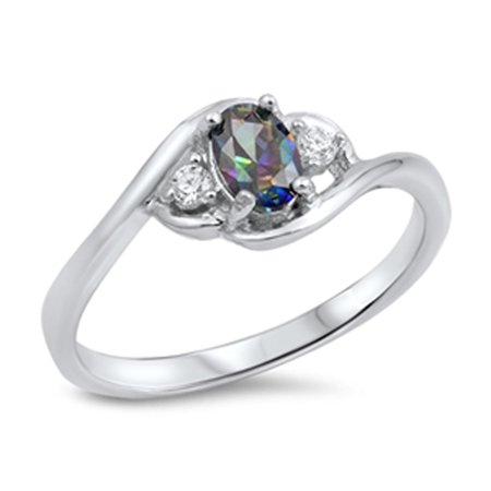 CHOOSE YOUR COLOR Oval Rainbow Simulated Topaz Beautiful Ring New .925 Sterling Silver Band