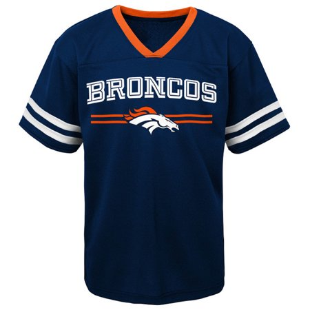 Toddler Navy Denver Broncos Mesh Jersey V-Neck T-Shirt