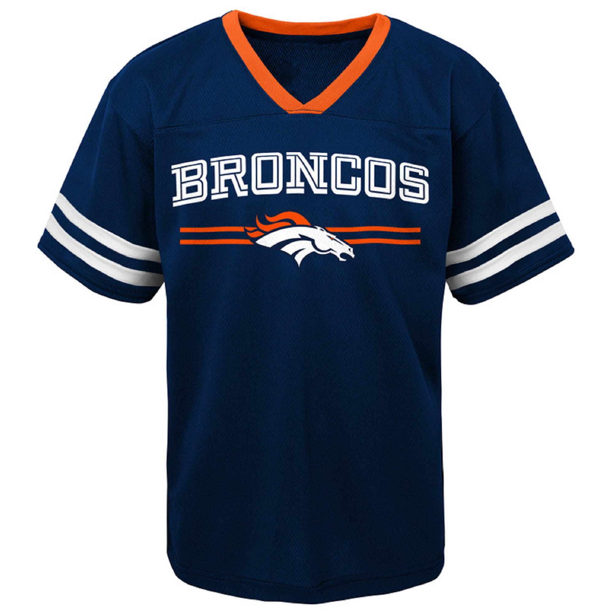Toddler Navy Denver Broncos Mesh Jersey V-Neck T-Shirt