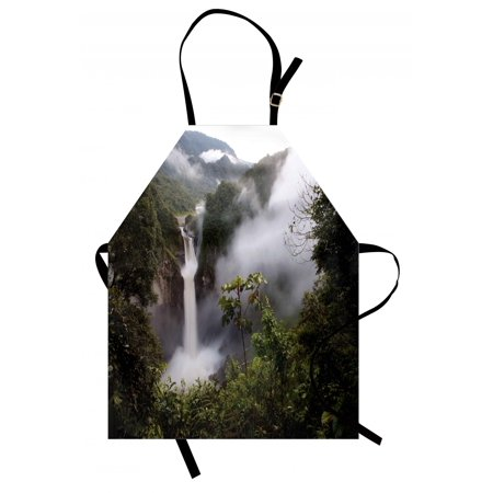 - Rainforest Apron San Rafael Falls Ecuador Misty Natural Waterfall in Lush Jungle Landmark Scene, Unisex Kitchen Bib Apron with Adjustable Neck for Cooking Baking Gardening, Green Grey, by Ambesonne