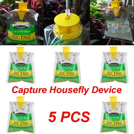 Bite Free Stable Fly Trap (5PCS Disposable Fly Trap Catcher Fly Catcher Insect Trap Hanging Style Pest Control )
